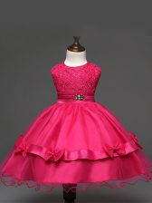 Hot Pink Tulle Zipper Little Girl Pageant Gowns Sleeveless Knee Length Lace and Bowknot