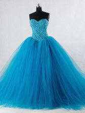 Suitable Beading Vestidos de Quinceanera Baby Blue Lace Up Sleeveless Floor Length