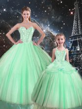 Tulle Sweetheart Sleeveless Lace Up Beading Quinceanera Dresses in Apple Green