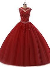 Artistic Sleeveless Tulle Floor Length Lace Up Sweet 16 Quinceanera Dress in Wine Red with Beading and Lace