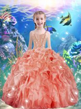 Watermelon Red Sleeveless Floor Length Beading and Ruffles Lace Up Little Girls Pageant Dress