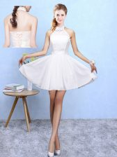 White Chiffon Lace Up Quinceanera Court Dresses Sleeveless Knee Length Lace