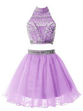 Glorious Lilac High-neck Neckline Beading Court Dresses for Sweet 16 Sleeveless Zipper
