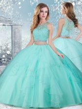 Deluxe Aqua Blue Ball Gowns Tulle Scoop Sleeveless Beading Floor Length Clasp Handle Quinceanera Gowns
