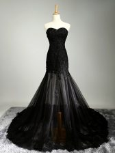 Delicate Mermaid Prom Gown Black Sweetheart Tulle Sleeveless Lace Up