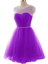 Extravagant Purple Lace Up Scoop Beading and Ruching Tulle Sleeveless