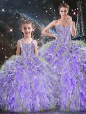 Chic Lavender Organza Lace Up Ball Gown Prom Dress Sleeveless Floor Length Beading and Ruffles