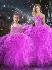 Classical Beading and Ruffles 15 Quinceanera Dress Fuchsia Lace Up Sleeveless Floor Length