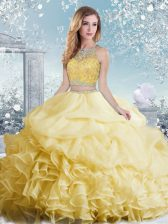 Fabulous Floor Length Yellow 15 Quinceanera Dress Organza Sleeveless Beading and Ruffles and Pick Ups