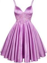 Lilac A-line Spaghetti Straps Sleeveless Elastic Woven Satin Knee Length Lace Up Lace Court Dresses for Sweet 16