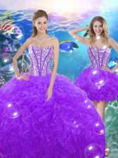 Colorful Sweetheart Sleeveless Lace Up 15 Quinceanera Dress Purple Organza