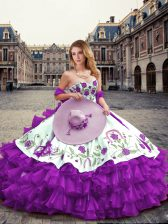 Attractive Organza Sweetheart Sleeveless Lace Up Embroidery and Ruffled Layers Sweet 16 Dress in Eggplant Purple