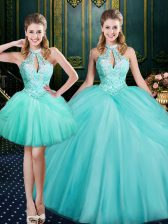 Shining Aqua Blue Lace Up Halter Top Beading and Pick Ups Quinceanera Gown Tulle Sleeveless