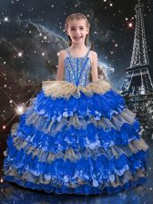 Sleeveless Beading and Ruffled Layers Lace Up Little Girls Pageant Dress