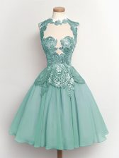 Best Selling High-neck Sleeveless Vestidos de Damas Knee Length Lace Light Blue Chiffon