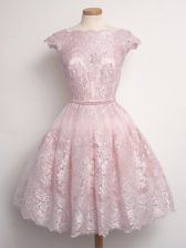 Hot Selling Baby Pink Cap Sleeves Lace Knee Length Quinceanera Court Dresses