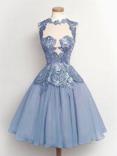 A-line Vestidos de Damas Light Blue High-neck Chiffon Sleeveless Knee Length Lace Up