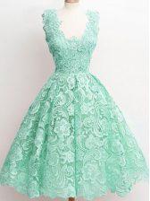 Knee Length A-line Sleeveless Apple Green Court Dresses for Sweet 16 Zipper