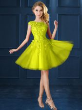 Traditional Yellow A-line Bateau Cap Sleeves Tulle Knee Length Lace Up Lace and Appliques Dama Dress for Quinceanera