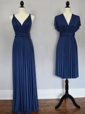 Pretty Navy Blue Straps Neckline Ruching Dama Dress for Quinceanera Sleeveless Lace Up