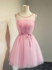 Knee Length Empire Sleeveless Rose Pink Dama Dress for Quinceanera Lace Up