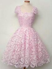 A-line Quinceanera Court Dresses Lilac Straps Lace Cap Sleeves Knee Length Lace Up
