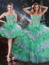 Sleeveless Beading and Ruffles Lace Up 15th Birthday Dress