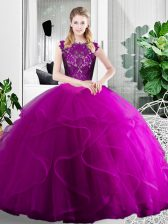 Cheap Fuchsia Two Pieces Lace and Ruffles Sweet 16 Dresses Zipper Tulle Sleeveless Floor Length