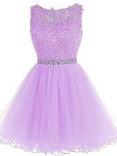 Excellent Lavender Zipper Evening Dress Beading and Lace and Appliques Sleeveless Mini Length