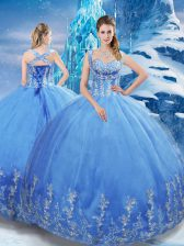 Sleeveless Lace Up Floor Length Beading and Appliques Quinceanera Dress
