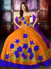 Orange Red Lace Up Strapless Embroidery Ball Gown Prom Dress Taffeta Sleeveless