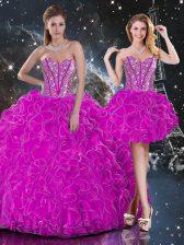 Fuchsia Sweet 16 Quinceanera Dress Military Ball and Sweet 16 and Quinceanera with Beading and Ruffles Sweetheart Sleeveless Lace Up