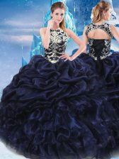 Inexpensive Sleeveless Floor Length Appliques and Ruffles and Pick Ups Lace Up Quinceanera Gowns with Navy Blue