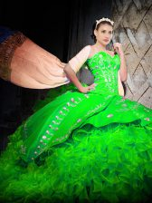 Spectacular Embroidery and Ruffles 15th Birthday Dress Green Lace Up Sleeveless With Brush Train