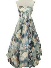 Glorious Multi-color Printed Zipper Sleeveless Floor Length Ruching