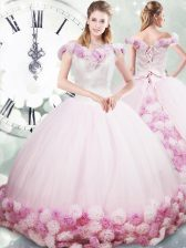 Suitable Fabric With Rolling Flowers Off The Shoulder Sleeveless Brush Train Lace Up Hand Made Flower Sweet 16 Dresses in Pink