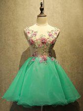 Sleeveless Lace Up Mini Length Appliques Prom Dress