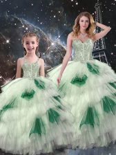 Wonderful Multi-color Organza Lace Up Quinceanera Gown Sleeveless Floor Length Beading and Ruffled Layers
