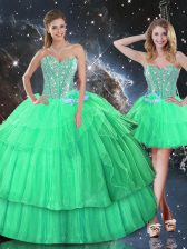 Apple Green Sleeveless Ruffled Layers and Sequins Floor Length Quinceanera Dresses