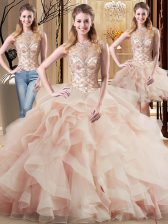 Peach Sleeveless Tulle Brush Train Lace Up 15th Birthday Dress for Military Ball and Sweet 16 and Quinceanera