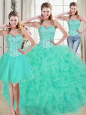 Turquoise Sweet 16 Dresses Prom and Party and Military Ball and Sweet 16 and Quinceanera with Beading and Ruffled Layers Sweetheart Sleeveless Brush Train Lace Up