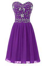 Eggplant Purple Empire Chiffon Sweetheart Sleeveless Beading Knee Length Zipper Prom Dresses