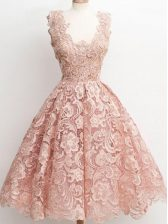 Attractive Knee Length Zipper Court Dresses for Sweet 16 Peach for Prom and Party and Wedding Party with Lace