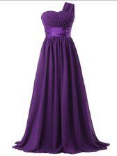 Trendy Floor Length Purple Court Dresses for Sweet 16 Chiffon Sleeveless Ruching