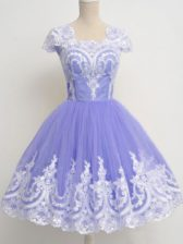 Cute Tulle Square Cap Sleeves Zipper Lace Vestidos de Damas in Lavender