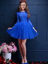 Colorful Royal Blue A-line Chiffon Scalloped 3 4 Length Sleeve Beading and Lace and Appliques Mini Length Lace Up Vestidos de Damas