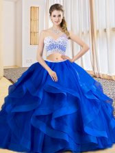 Customized Royal Blue Tulle Criss Cross One Shoulder Sleeveless Floor Length Quince Ball Gowns Beading and Ruffles