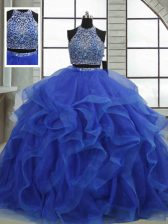 Edgy Royal Blue Organza Lace Up 15th Birthday Dress Sleeveless Floor Length Beading and Ruffles