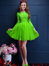 3 4 Length Sleeve Lace Up Mini Length Beading and Lace and Appliques Damas Dress