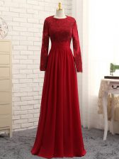 Popular Wine Red Zipper Scoop Lace and Appliques Evening Dress Chiffon Long Sleeves